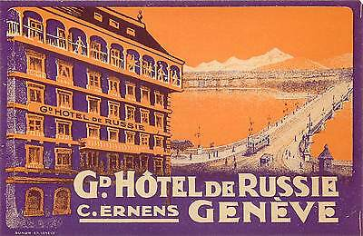 Geneve Switzerland Grand Hotel De Russie Old Luggage Label Street Car Trolley