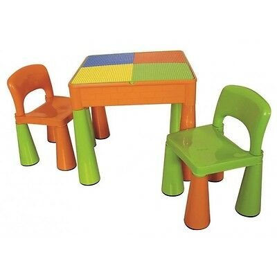 Bright Multi Coloured Reversable Hardtop Block Table With 2 Seats Fits Lego