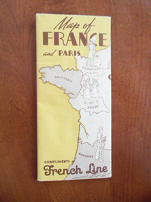 c.1930s FRENCH LINE Advertising Map of France Paris Vintage Pictorial Covers BIG