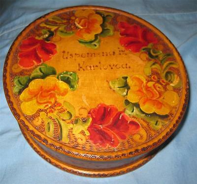 vintage ETHNIC Croatian Baltic FOLK ART Hand Painted WOODEN BOX Oval Pyrography