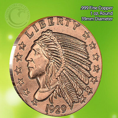 Incuse Indian 1 oz .999 Copper Round Flat finish