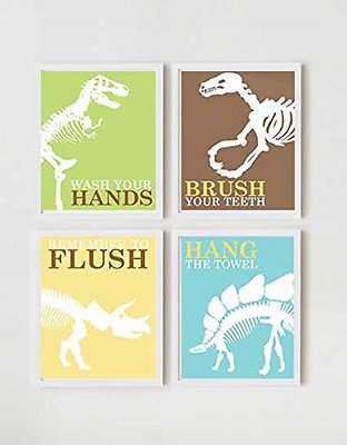 Adorable Dinosaur Children Bathroom Wall Decor (Set of Four)