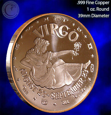Virgo Horoscope Collection 1 oz .999 Copper Round