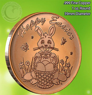 Easter Bunny Copper 1 oz .999 Copper Round