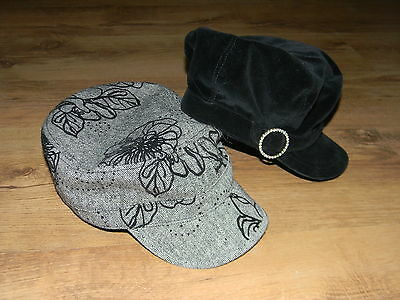 NWOT Girl cute 2 hats,one cap in velvet black,second one black and white M