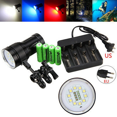 Photography Video 12000LM 10x XM-L2+4x Red+4x Blue LED SCUBA Diving Flashlight
