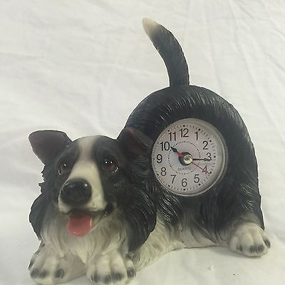 PRESIDENT'S SALE!!  Critter Clock Border Collie Tabletop Wagging Tail Puppy Dog