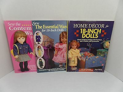 Home Decor & Sew the Essential/Contemporary Wardrobe for 18 Inch Dolls Book Lot