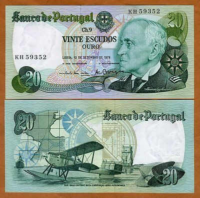 Portugal, 20 Escudos, 13-9-1978, P-176a, UNC   Airplane
