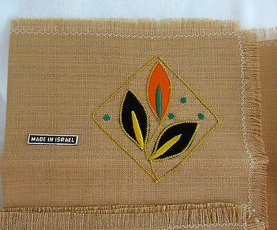 Set Of 6 Rare Embroidered Frayed Woven Placemats From Israel Pristine Vintage?