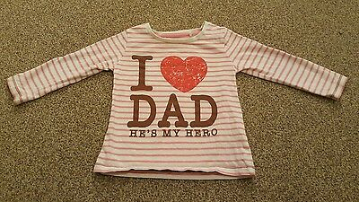 Girls NEXT 9-12 months I love Dad top - Great condition