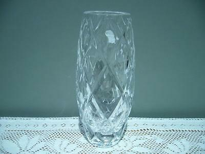 Sparkling Deeply Cut Crystal Vase - 17.2Cm - Crosses And Circles - Vgc