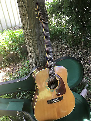 Vintage 1975 Takeharu WT-200 Acoustic Guitar Made in Japan with hard case.