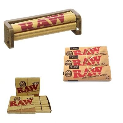 Raw Rolling Paper Bundle(21 Pre-Rolled Tips +96x 1 1/4 Raw Natural Hemp +79mm Ro