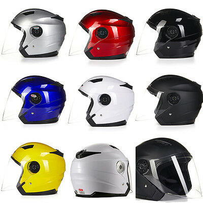 Double Face Mirror Motorcycle E-bike Half Face Flip Up Helmet Sun Visor 7Colors