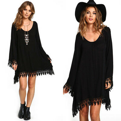 Fashion Women Girl Solid Chiffon Casual Loose Dress Black Top Clothes Plus Size