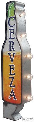 "CERVEZA Double Sided Metal Sign, 30"" With Large Marquee Style LED Light Bulbs"