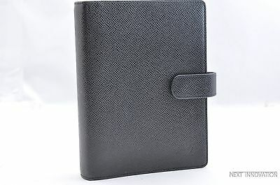 Authentic Louis Vuitton Taiga Agenda MM Day Planner Cover Black LV 28288