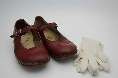 antique vintage early 20th century girl leather shoes & white gloves - adorable