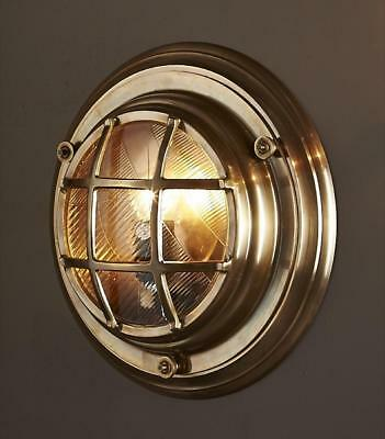 Emac Lawton Jervis Porthole Wall Light Outdoor in Brass or Silver E27 35cm