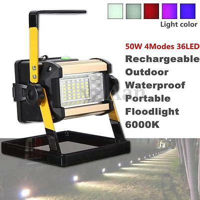 50W 36 LED Rechargeable Flood Spot light Camping Portable Outdoor Flashing Lamp