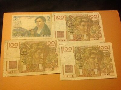 collection of France francs banknotes