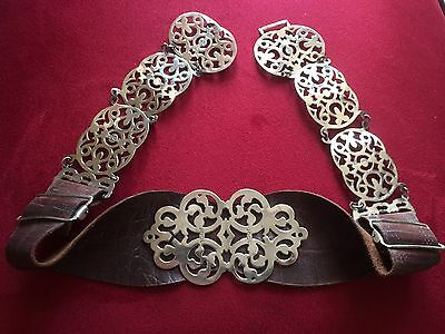 Vintage Silver and Leather Belt Steampunk
