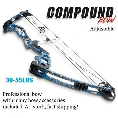 30-55lbs Adjustable Blue Camo Magnesium Alloy Target Compound Bow Archery Sports