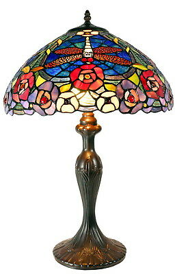 "In stock now@16"" Large Dragonfly Stained Glass Tiffany Table Lamp"