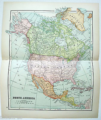Original 1895 Map of North America