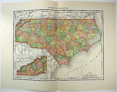 Original 1895 Map of North Carolina by Rand McNally