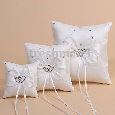 White Double Heart Bearer Pocket Ring Pillow Cushion Crystal Wedding Party Gift