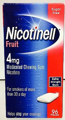 Nicotinell sugar free 4mg Fruit medicated chewing gum 96 peices