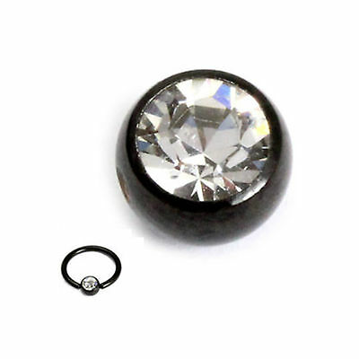 PVD BLACK Surgical Steel Replacement 5mm Clip in Gemball