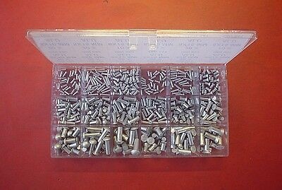440 X Alu Rivets Assortment 2/3/4/5/6 Mm Ø Solid Senk & Round Din 660+661+Box