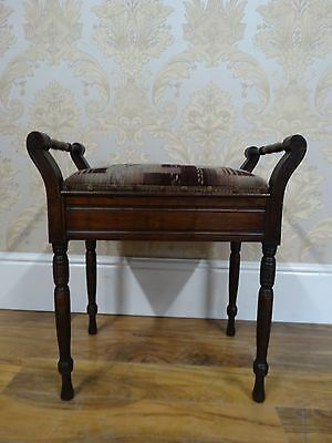 pretty antique edwardian piano stool with under seat storage