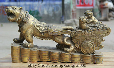 """23"""" Big Chinese Brass three Tiger pull Wealth Money carriage Statue sculpture A"""