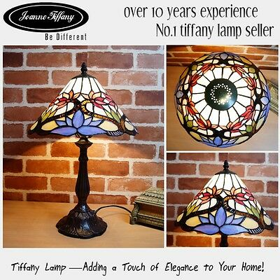 """New Elegant 12"""" Lotus Style High Quality Stained GlassTiffany bedside Lamp"""