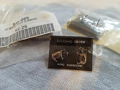 "Three pair of Sterling Silver hippo post earrings 1/2"" long"