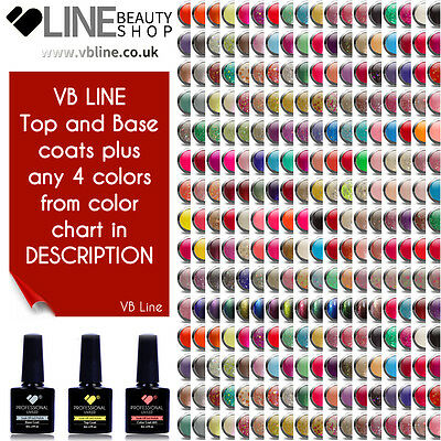 Top & Base coats & 4 colours VB® Line LED/UV Soak Off Nail Colour Gel Polish