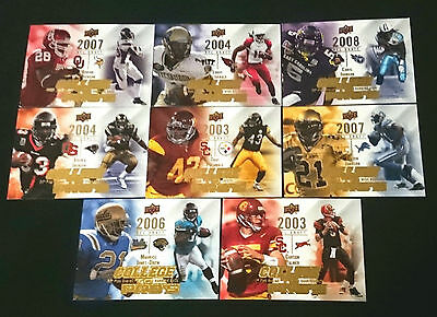 8 x Upper Deck 2009 College to Pro's NFL Insert Trading Cards Bulk Lot