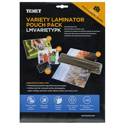 50 Assorted Size Variety Pack 150 Micron Laminating Pocket Pouches Sheets Texet
