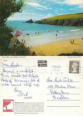1980's TREVONE BAY Nr PADSTOW CORNWALL COLOUR POSTCARD