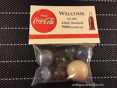 1 Bag of 7 Vintage COCA COLA Marbles 43rd Annual Tournament