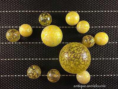 Lot of 12 Vintage Yellow Speckled Confetti Marbles