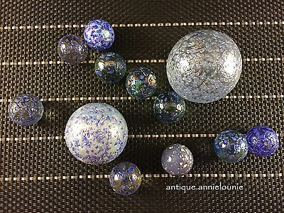 Lot of 12 Vintage Blue Speckled Confetti Marbles