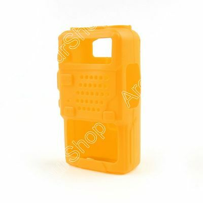 1x Rubber Soft Handheld Case Holster For BaoFeng UV-5R/5RA/5RE Plus Radio Yellow