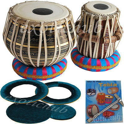 Tabla Drum Set~Black Brass 2.5 Kg Bayan~Sheesham Wood Dayan~Hammer/cushion