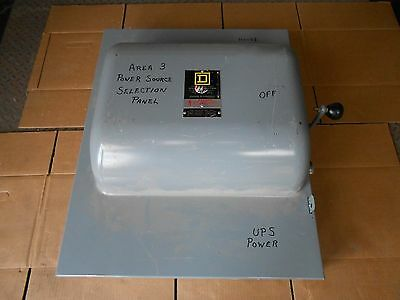 1 Used Square D 92444 Transfer Switch 200A 200 Amp 600V 600 Vac Double Throw