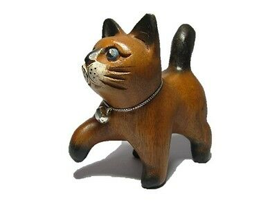 Hand Carved Wooden Cat Statue Figurine Crafted Wood Leg walking